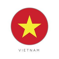 Vietnam flag round circle vector icon