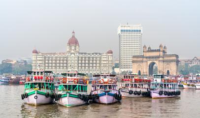 Ferries near the Gateway of India in Mumbai, India