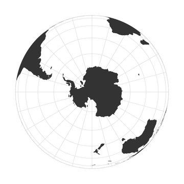 Vector Earth globe focused on Antarctica and South Pole.