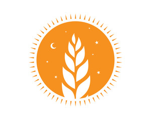 orange night circle paddy wheat barley plant harvest agriculture image vector
