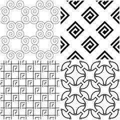 Geometric patterns. Black elements on white backgrounds