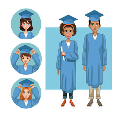Young students in graduation round icons vector illustration graphic design