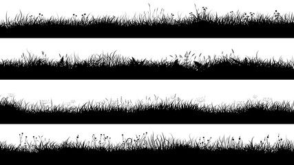 Horizontal banners of meadow silhouettes with short grass.