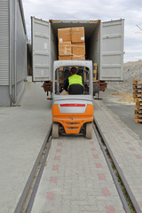 Forklift Loading Cargo Train