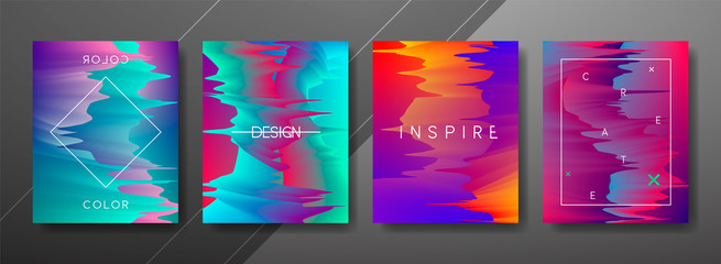 Abstract Fluid, lines and shapes creative templates, cards, color covers set. Geometric design, liquids, shapes. Trendy vector collection. Wall mural