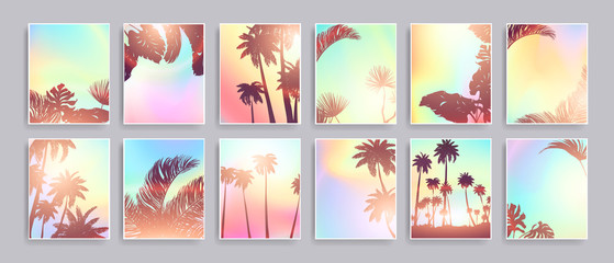 Colorful Summer banners, tropical backgrounds set with palms, sea, clouds, sky, beach. Beautiful Summer Time cards, posters, flyers, party invitations. Summertime, template collection. Wall mural