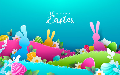 Happy Easter background, trendy pattern with Egg Hunt, rabbit ears. Spring holiday flyers, banners, posters and templates design. Vector illustration.