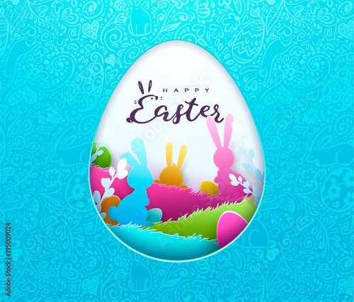 happy easter background trendy pattern with egg hunt rabbit ears