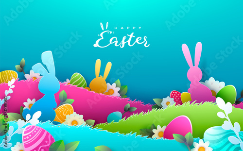 happy easter background trendy pattern with egg hunt rabbit ears spring holiday flyers