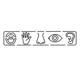 Icon set of five human senses vision eye, smell nose, hearing ear, touch hand, taste mouth. Simple line icon vector illustration.line sensory icon