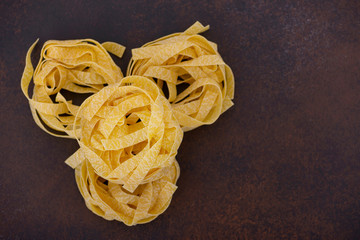 Top view rolled fettuccine pasta