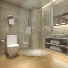 3d rendering modern luxury wood  bathroom in suite hotel