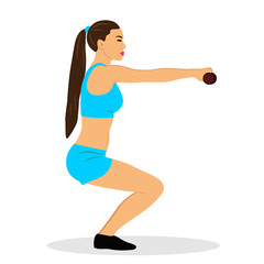 Girl with dumbbells. Sports girl. Exercises. Healthy Lifestyle.