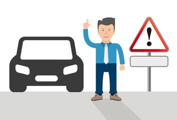 Ein Cartoon als Geschäftsmann mit einem Auto und Warndreieck