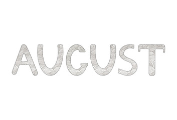 August. Creative hand drawn letters. Coloring page.