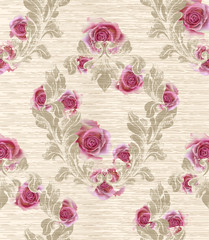 Damask pattern with rose flowers decor Vector illustration. Texture designs