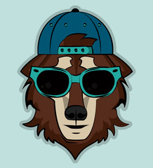 Cool wild wolf cartoon vector illustration clothing design
