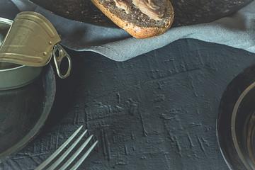 Tuna tuna sandwich with whole wheat bread, healthy food. Black food.
