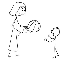 Cartoon stick man drawing conceptual illustration of mother or mom playing with son with inflatable beach ball.