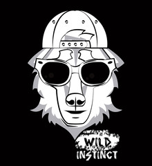 Hipster wild wolf print for t shirt vector illustration clothing design