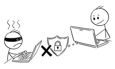 Cartoon stick man drawing conceptual illustration of businessman working on computer while hacker cannot breach strong system password.Concept of internet and network security.