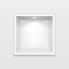 Empty Square Niche Shelf Display In The Wall. To Present Your Product. Mock Up. 3D Illustration. Ready For Your Design. Advertising. Vector EPS10