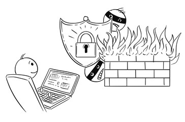 Cartoon stick man drawing conceptual illustration of businessman working safely on computer while hackers cannot breach strong password and firewall. Concept of internet and network security.