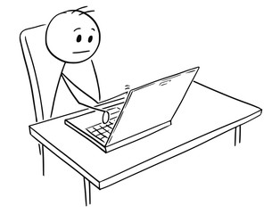 Cartoon stick man drawing conceptual illustration of businessman working on notebook computer.