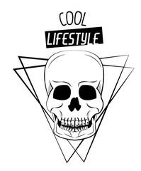 Cool skull print for tshirt vector illustration clothing style