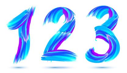 Blue paint brushstrokes vector 1,2,3 numbers set