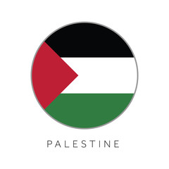 Palestine flag round circle vector icon