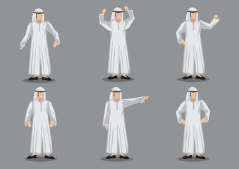 Muslim Man Cartoon Character in White Islamic Costume Vector Illustration
