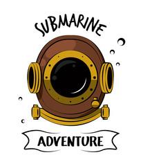 Diving helmet adventour spirit print for tshirt vector clothing style