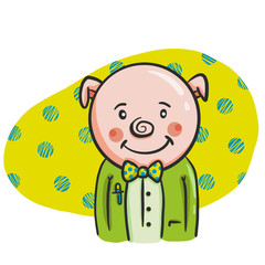 Cartoon pig wearing suit and bow tie