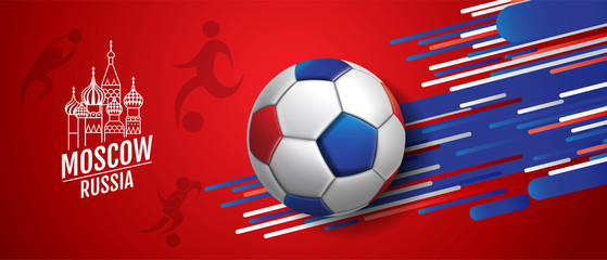 Football , Soccer, cup, Moscow,Russia, Poster Design Background Template, Vector Illustration.