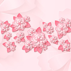 Floral tender background with 3d cut out paper pink flowers with leaves. Vector illustration