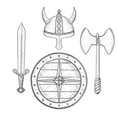 Viking armor set - helmet, shield, sword and axe. Hand drawn sketch