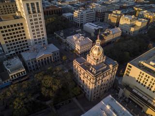 Aerial top down view of city hall in Savannah, Georgia, USA.