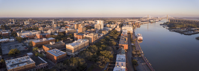 Aerial panorama of downtown Savannah, Georgia and River Street.