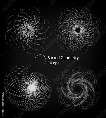 Sacred Geometry Forms Spiral Shapes Set Of Lines Circle