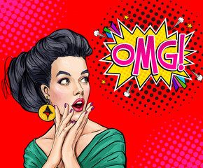 Surprised young sexy woman with open mouth.Comic woman. Amazed women. Pop Art girl. OMG.