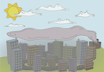 A colorful doodle about a city under pollution smoke because of the factory, higher there are clouds and sun