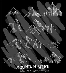 Hand drawn doodle vector line Mountain icon set on Chalkboard eps10