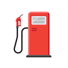 Vector illustration of red gas station with petrol pump. Isolated on white. Flat style