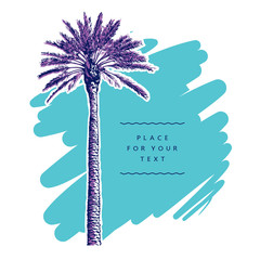 Single palm tree on turquoise background. Vector illustration, template, design element for travel, vacation and summer concept.
