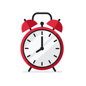 Red Alarm Clock in flat style simple vector illustration isolated on white