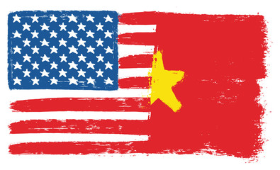 United States of America Flag & Vietnam Flag Vector Hand Painted with Rounded Brush
