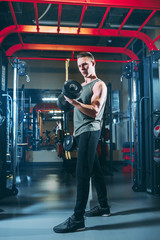 A stylish guy is engaged in dumbbells in a gym. Bodybuilding