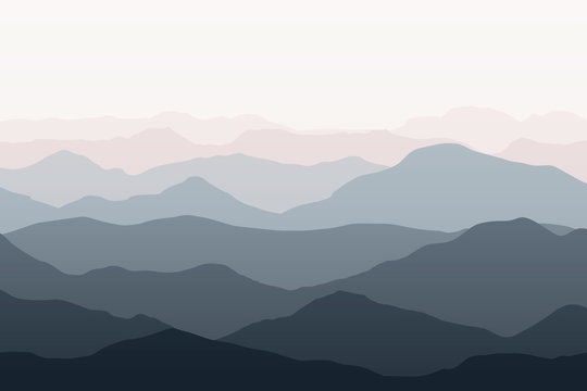 Beautiful mountains landscape. Nature background. Vector illustration for backdrops, banners, prints, posters, murals and wallpaper design.