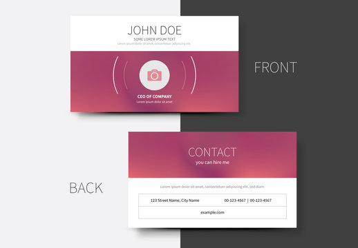 Business Card Layout with Pink Gradient 1